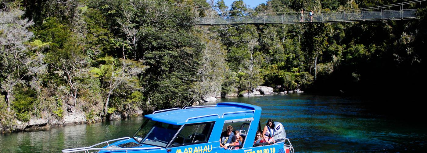Marahau Water Taxi - Falls River Swingbridge in The Abel Tasman National Park